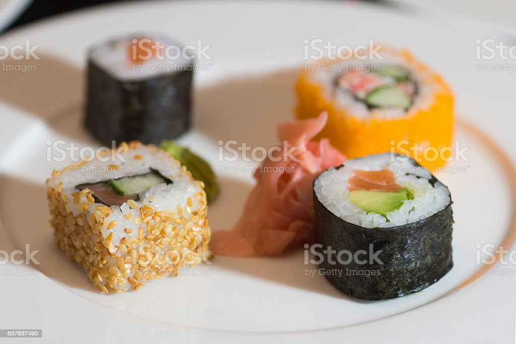 Sushi Set on white plate stock photo