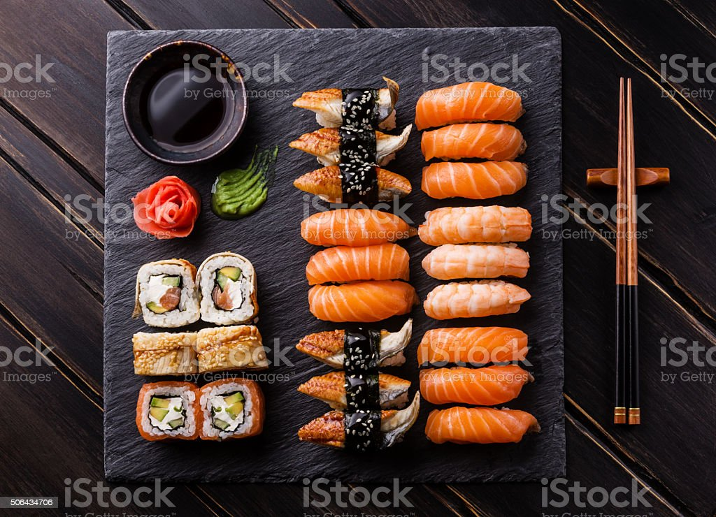 Sushi Set sashimi and sushi rolls stock photo