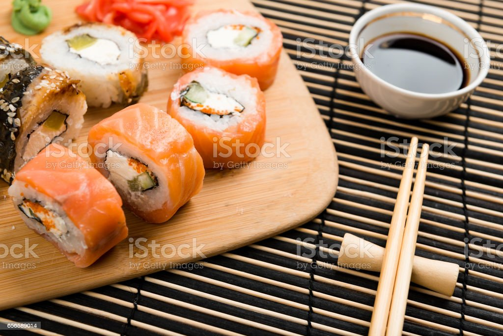 Sushi set served on a board stock photo