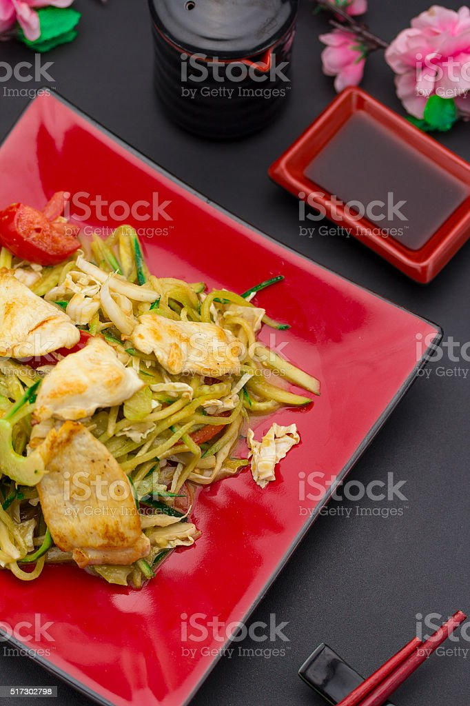 Sushi set with ginger and wasabi stock photo