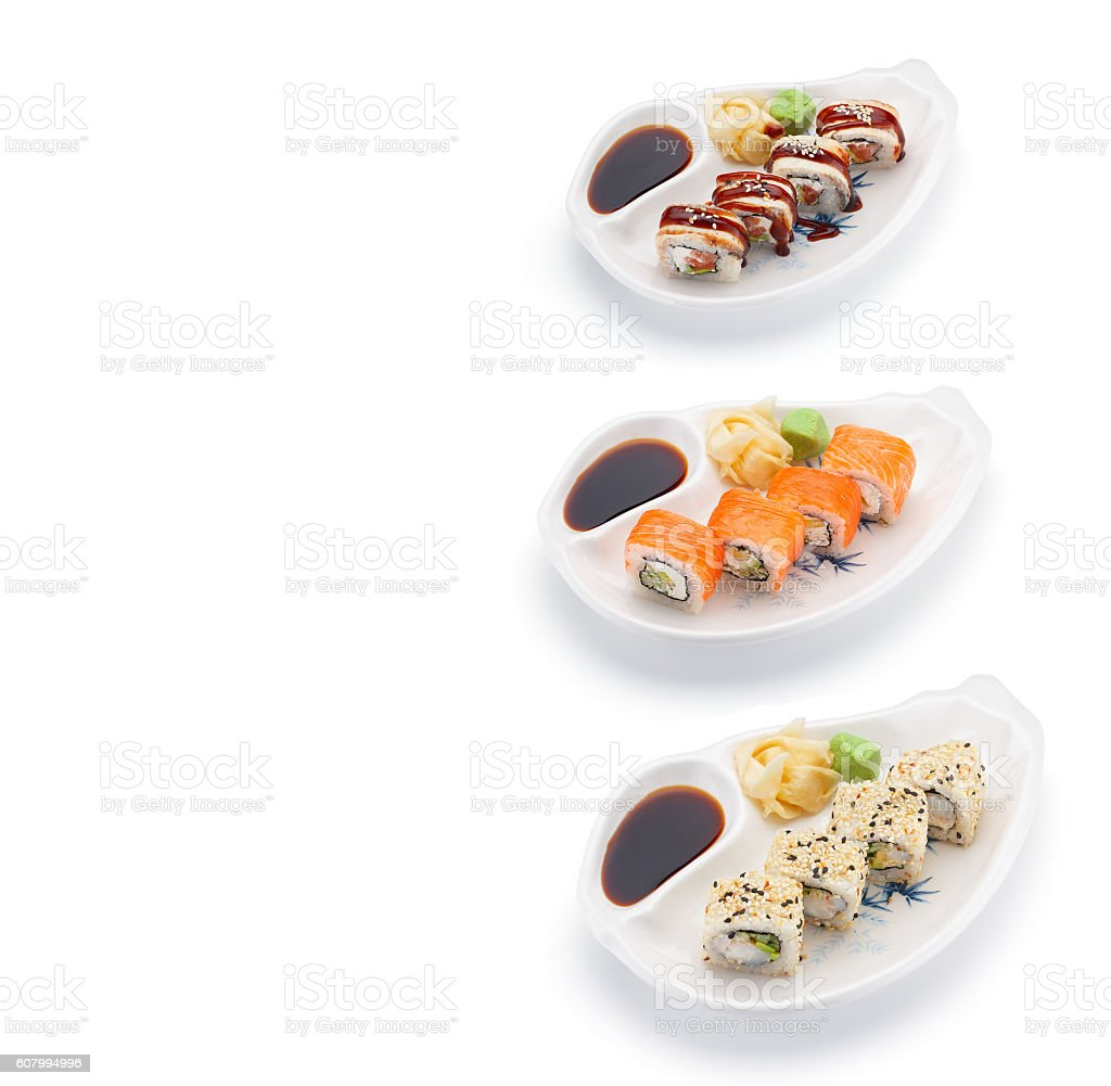 Sushi set with ginger wasabi and soy sauce isolated stock photo