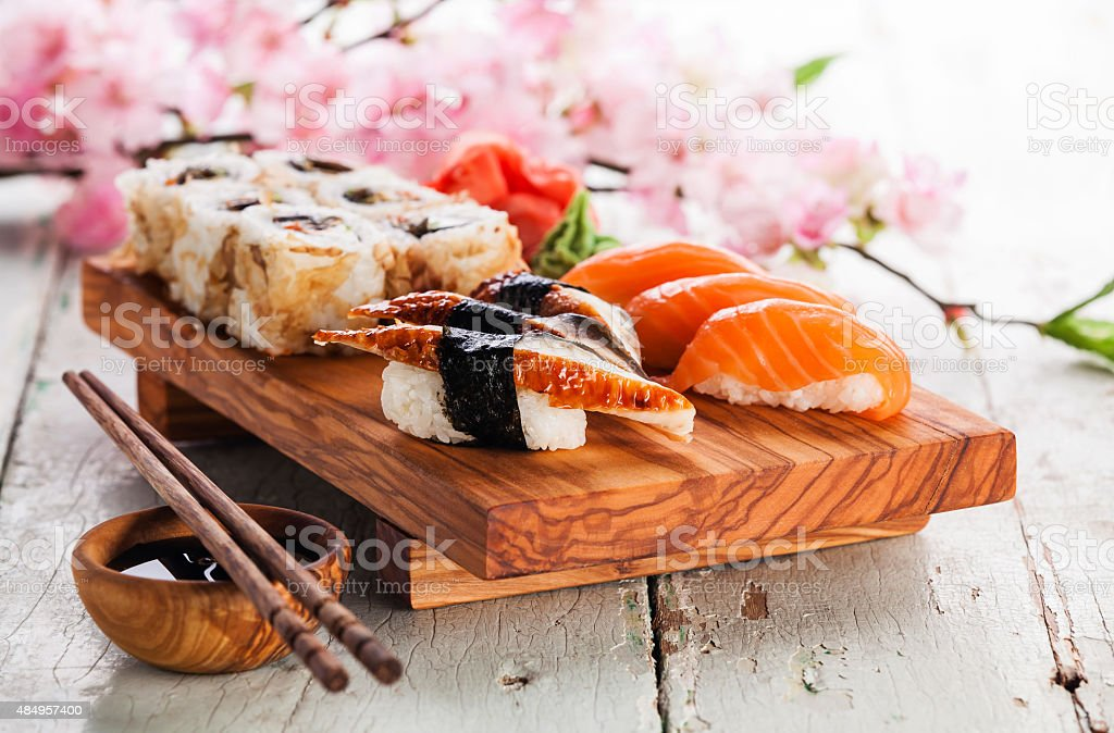 Sushi Set with sashimi and sushi rolls stock photo