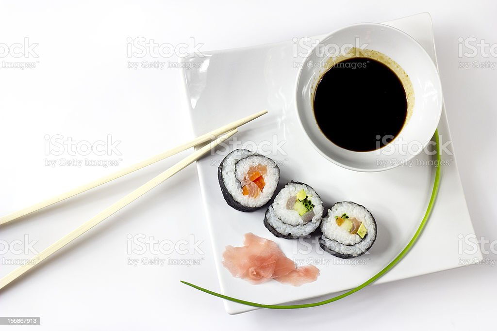 sushi set with soya sauce and ginger royalty-free stock photo