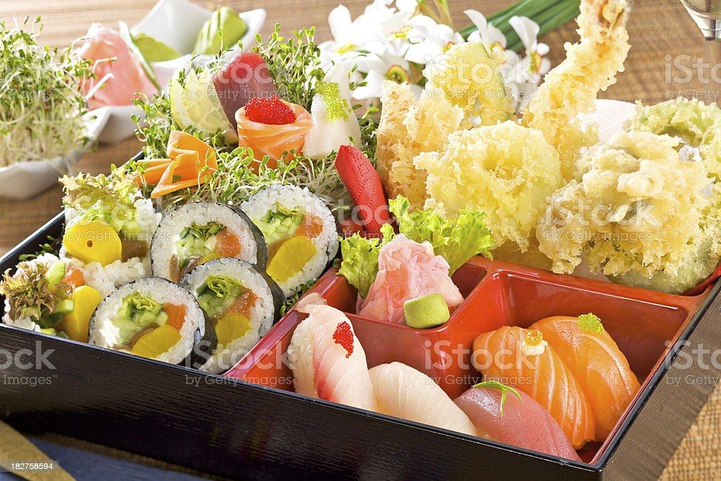 Sushi set with tempura royalty-free stock photo