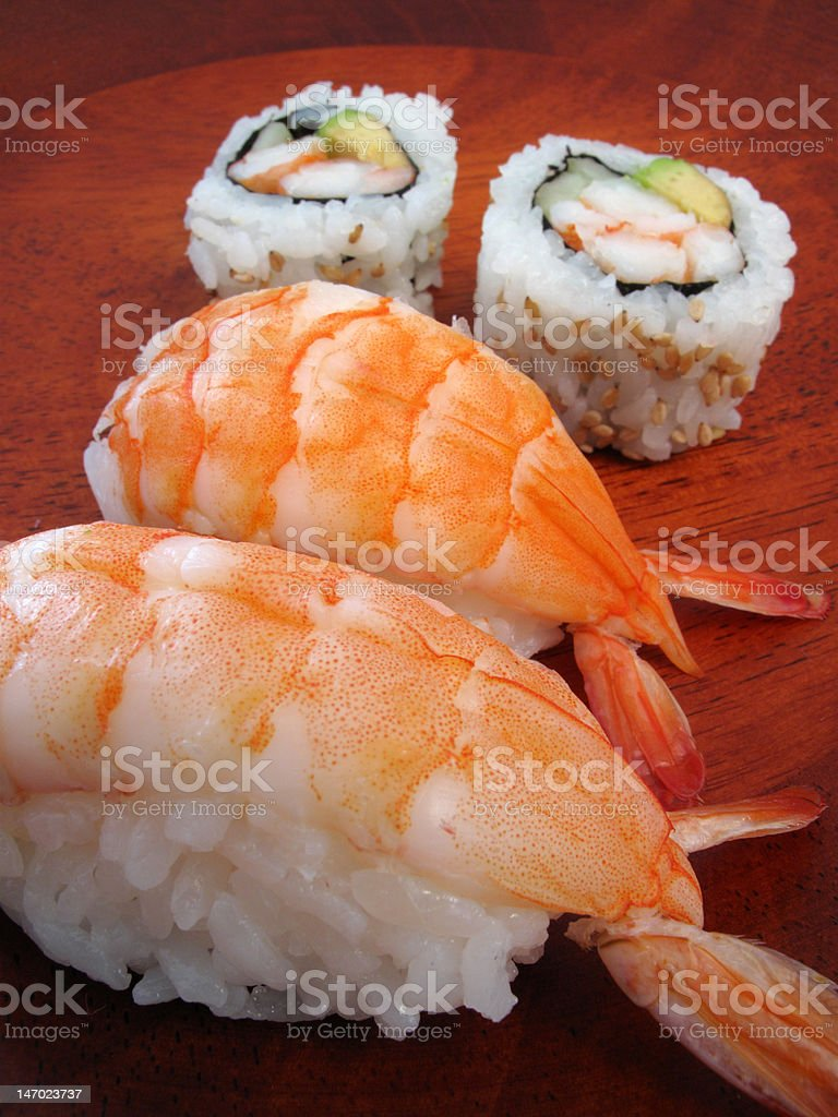 Sushi Shrimp and Rolls royalty-free stock photo