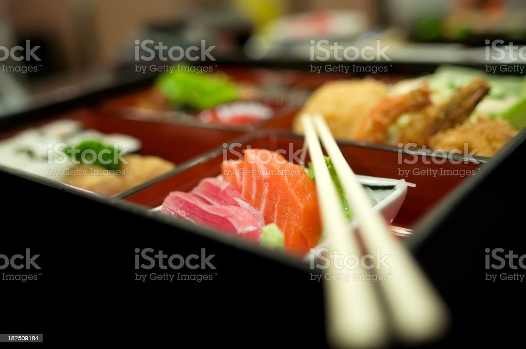 Sushi Tempura Bento Box japanese food with  chopstick stock photo