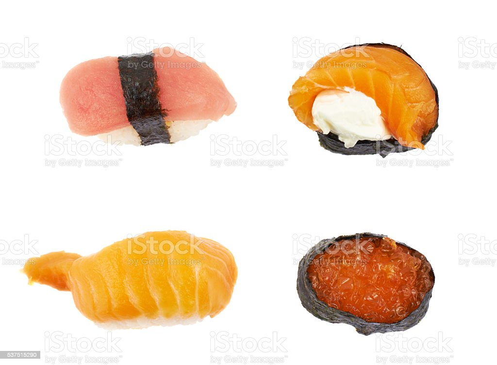 Sushi top view isolated stock photo