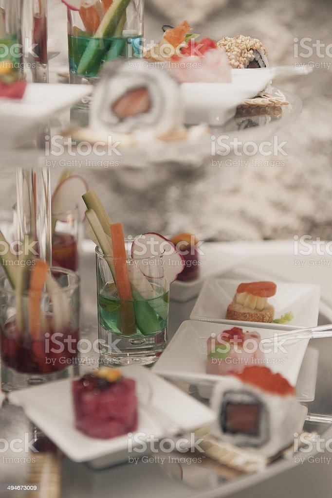 sushi tuna rice rolled buffet stock photo
