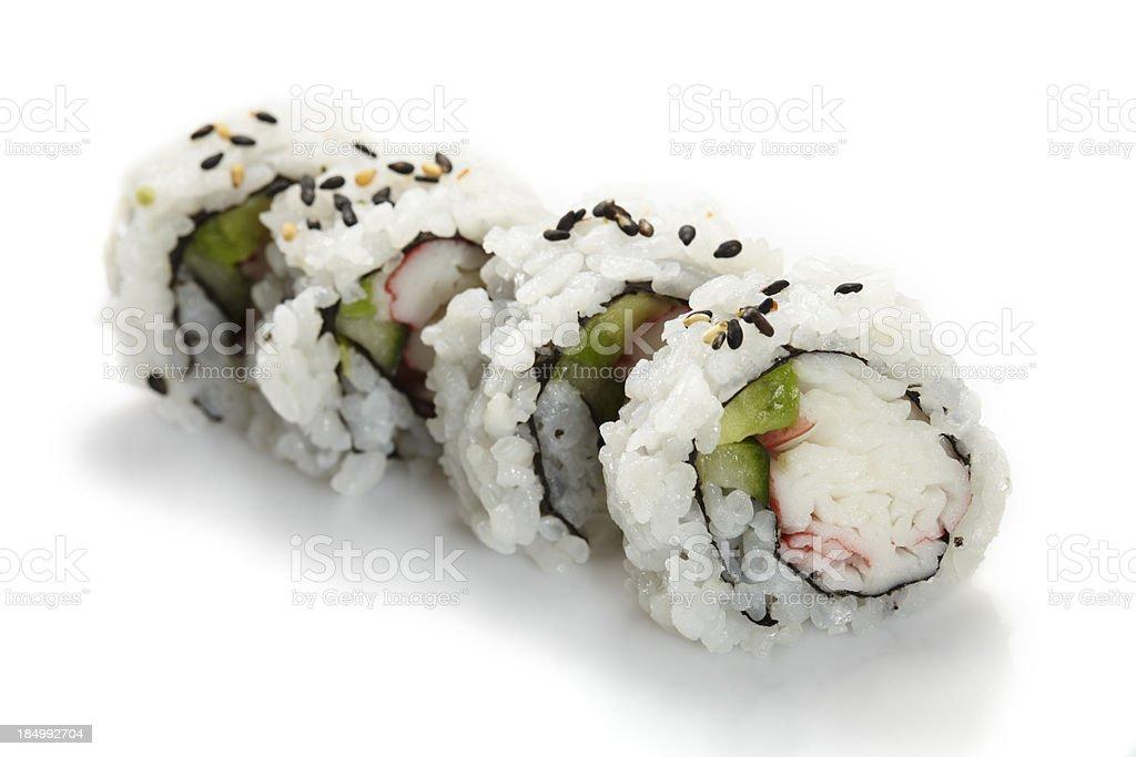 Sushi uramaki inside out california roll royalty-free stock photo