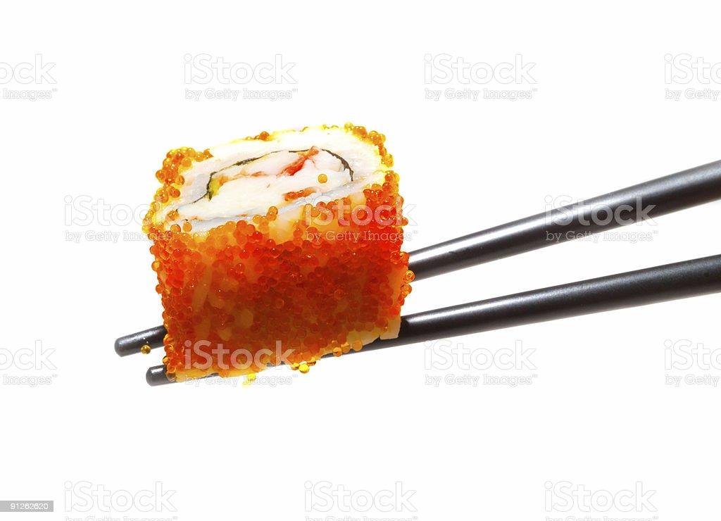 Sushi with chopsticks shot on white royalty-free stock photo