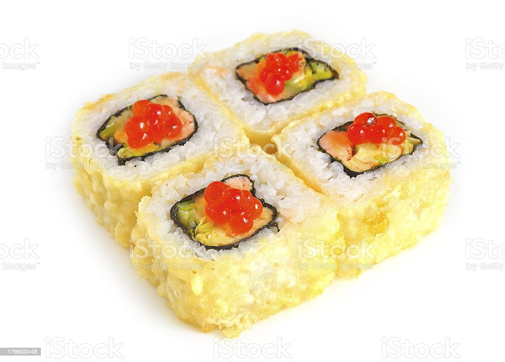 Sushi with fish and caviar royalty-free stock photo