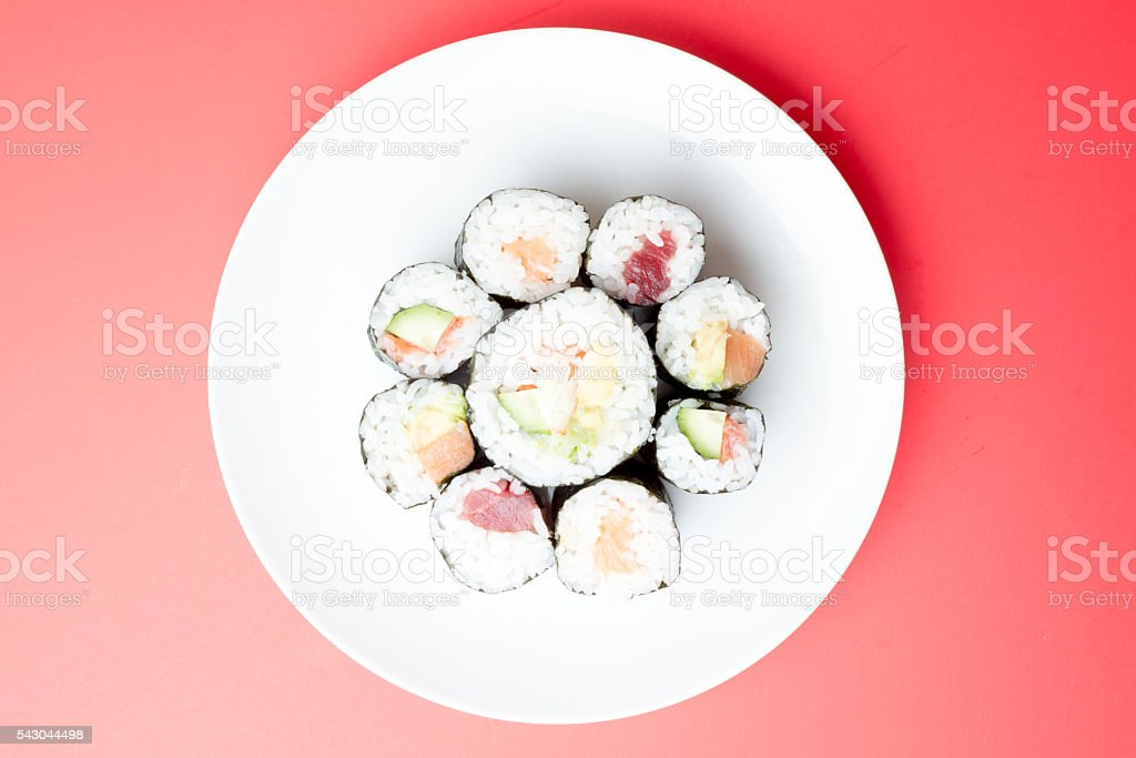 sushi with red background stock photo
