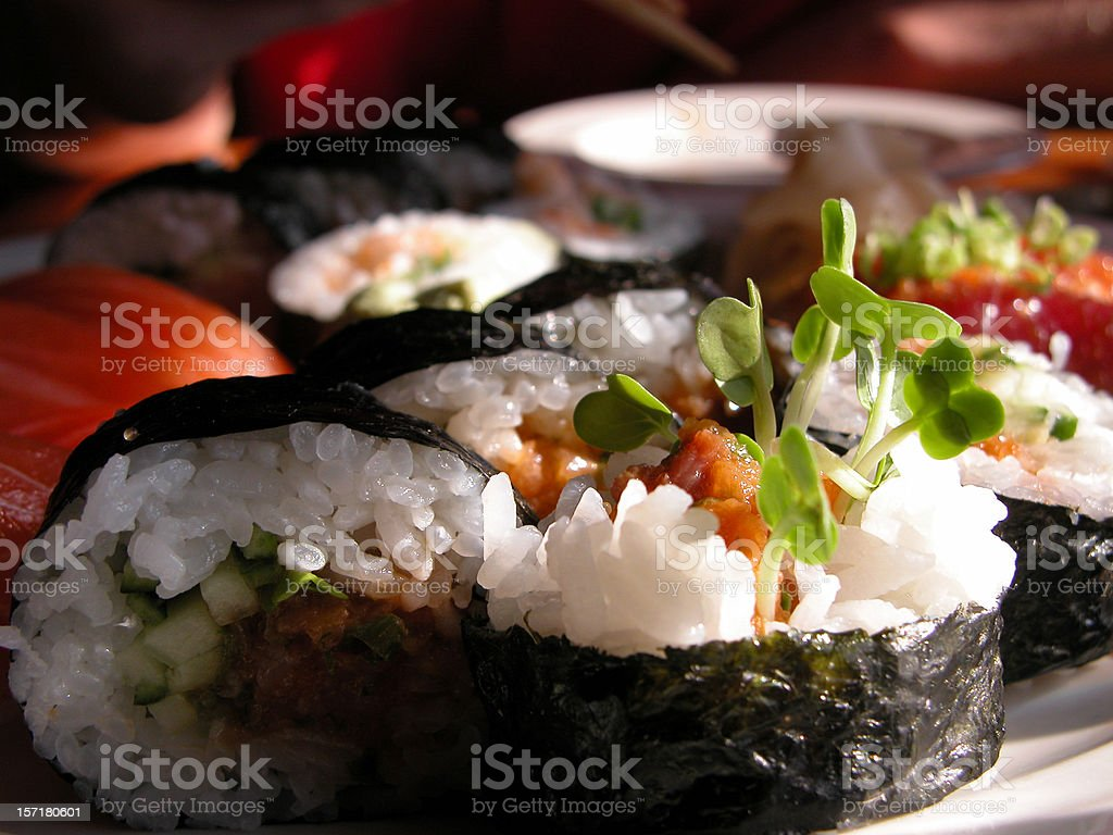Sushi with rice and seafood together royalty-free stock photo