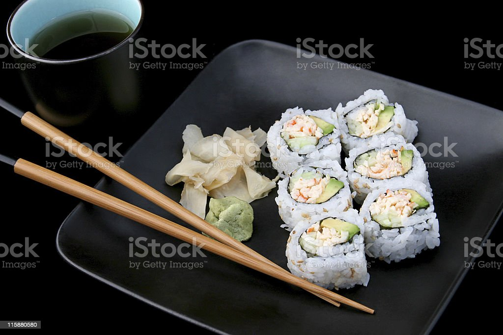 Sushi With Tea on Black stock photo