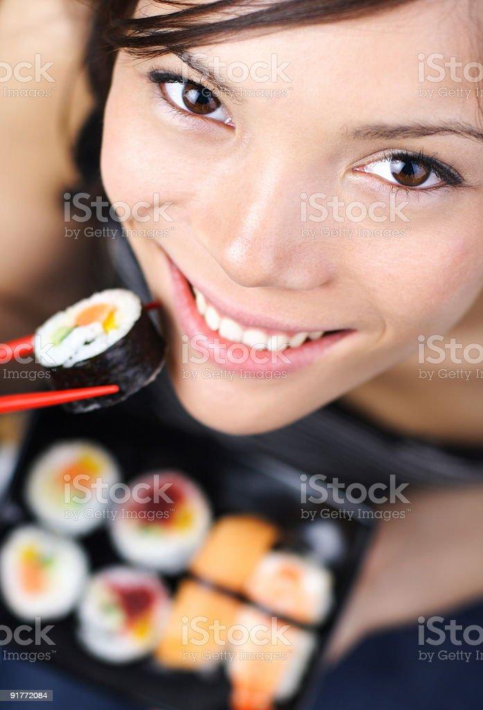 Sushi woman royalty-free stock photo