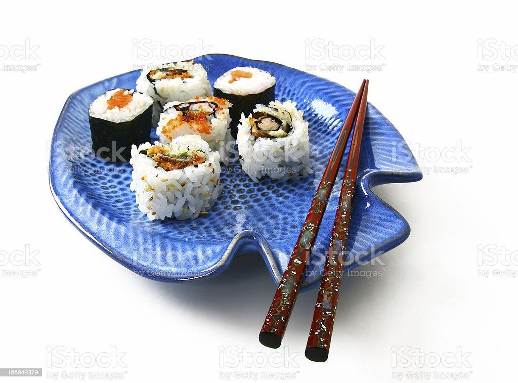 Sushi/Maki on blue fish plate royalty-free stock photo