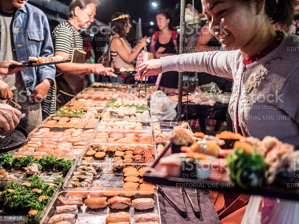 Sushy food stall at Chatuchak market Bangkok Thailand stock photo