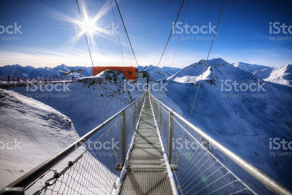 Suspended Bridge high in the Alps royalty-free stock photo