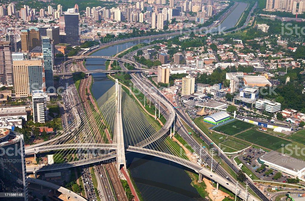Suspended bridge in Sao Paulo City stock photo