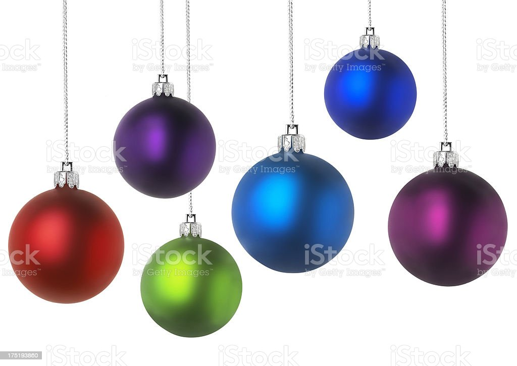 Suspended Christmas colorful baubles royalty-free stock photo