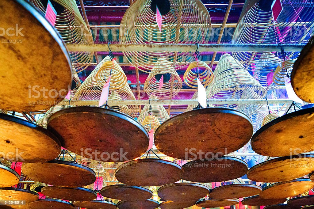 Suspended Incense coils in Buddhist temple stock photo