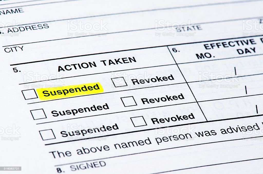 Suspended License stock photo