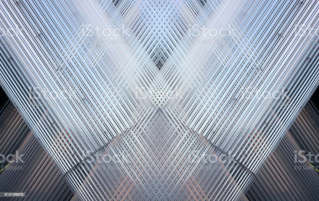 Suspended metal ceiling with latticed structure. Abstract contemporary architectural fragment. stock photo
