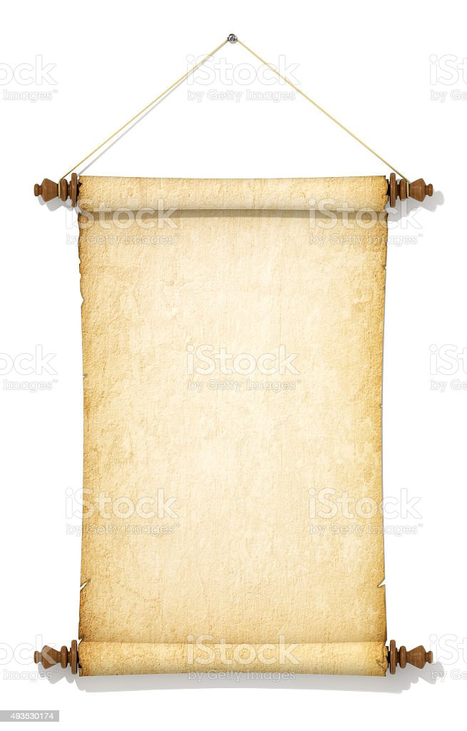 Suspended on a rope and old yellowed roll of paper. stock photo