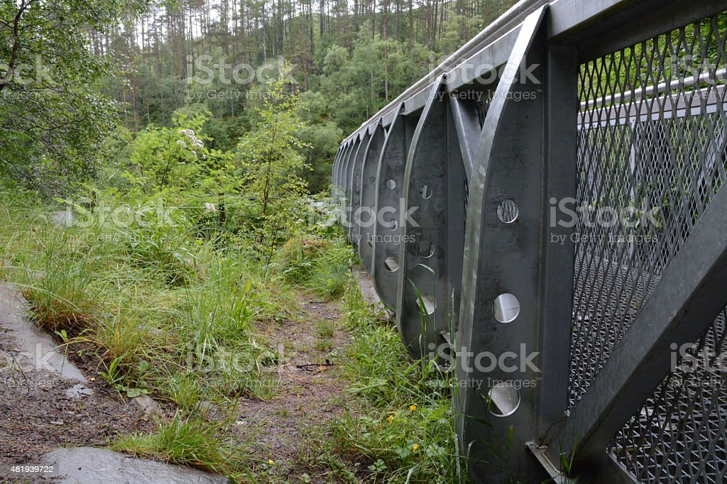Suspended viewpoint next to vegetation stock photo