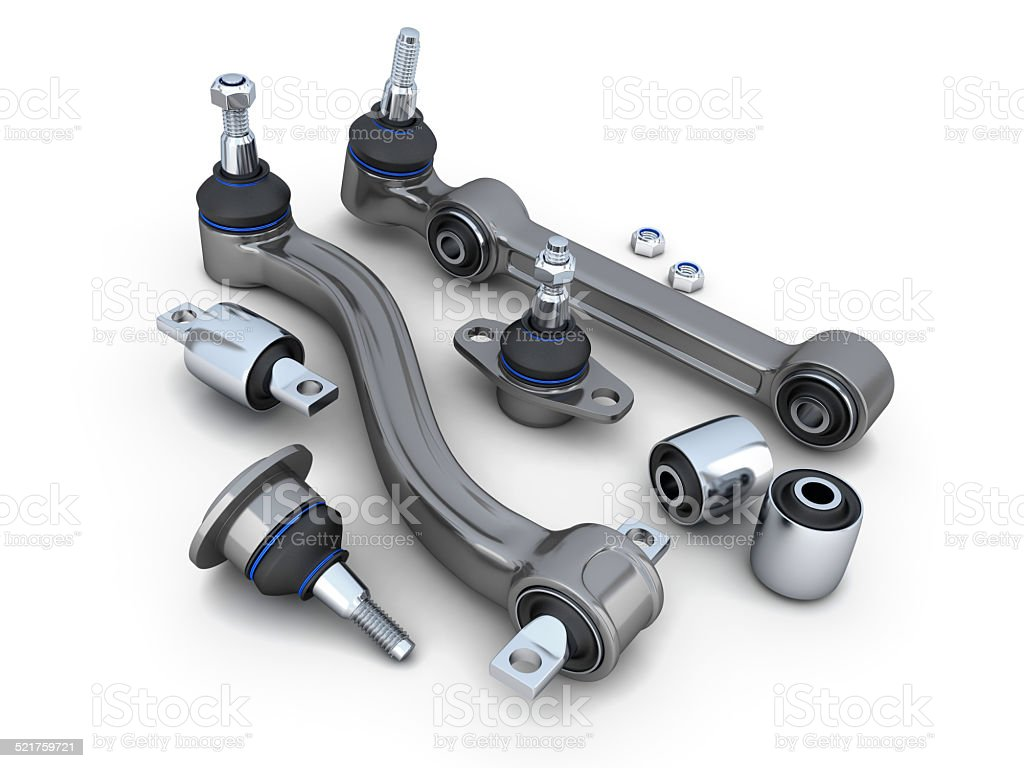 Suspension arm and ball joint car stock photo