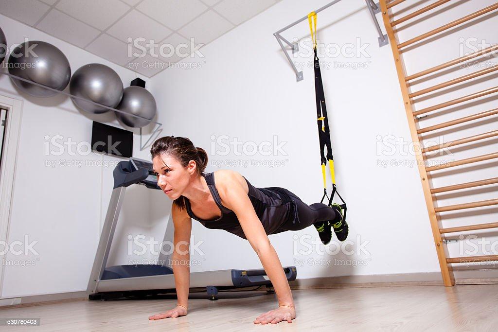 suspension arm training stock photo