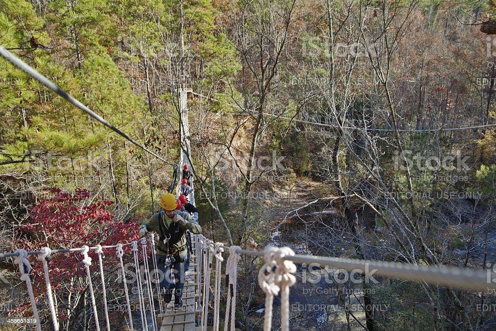 Suspension bridge adventure and canopy tour ZIPQUEST stock photo