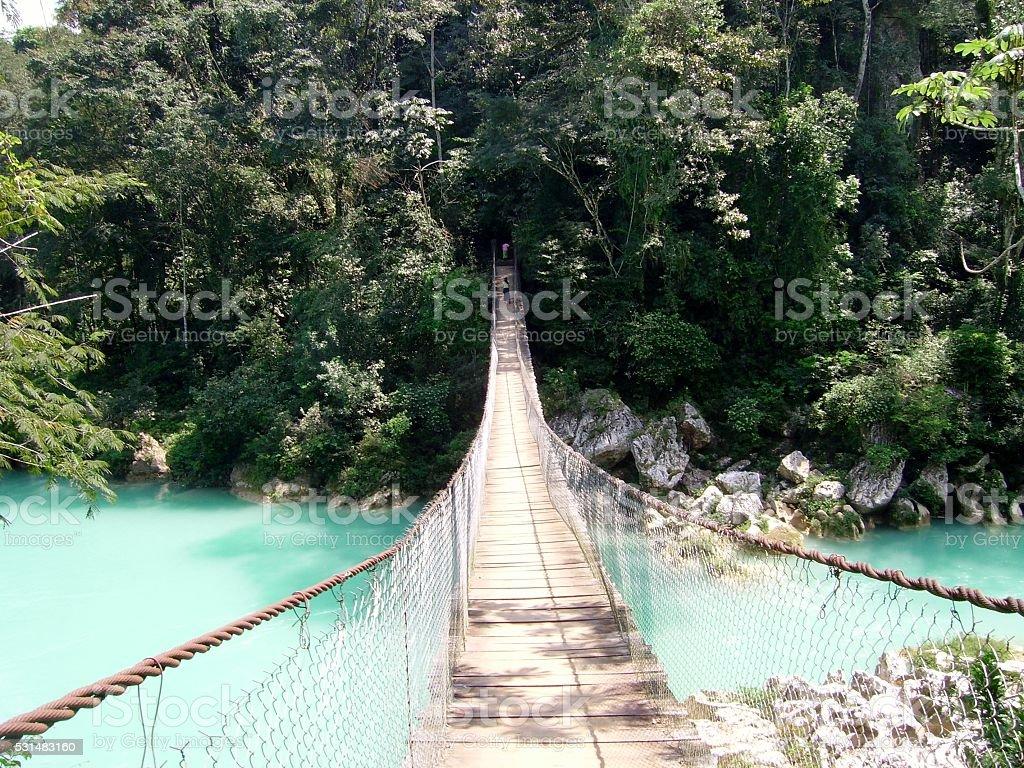 Suspension bridge at Agua Clara, Chiapas, Mexico stock photo