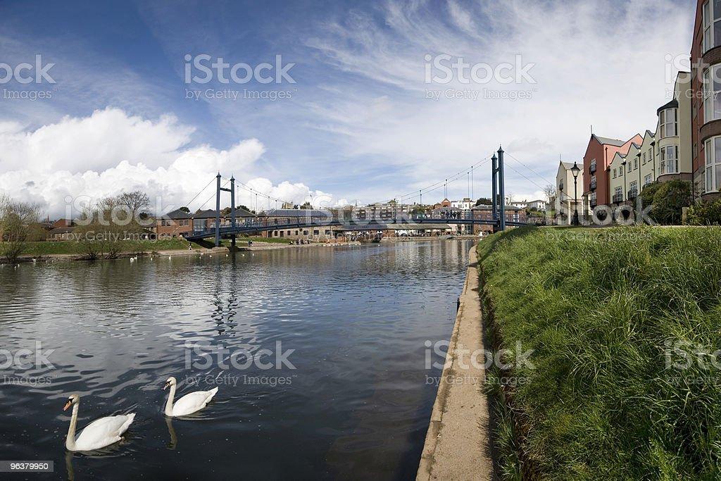 Suspension Bridge at Exeter Quayside stock photo
