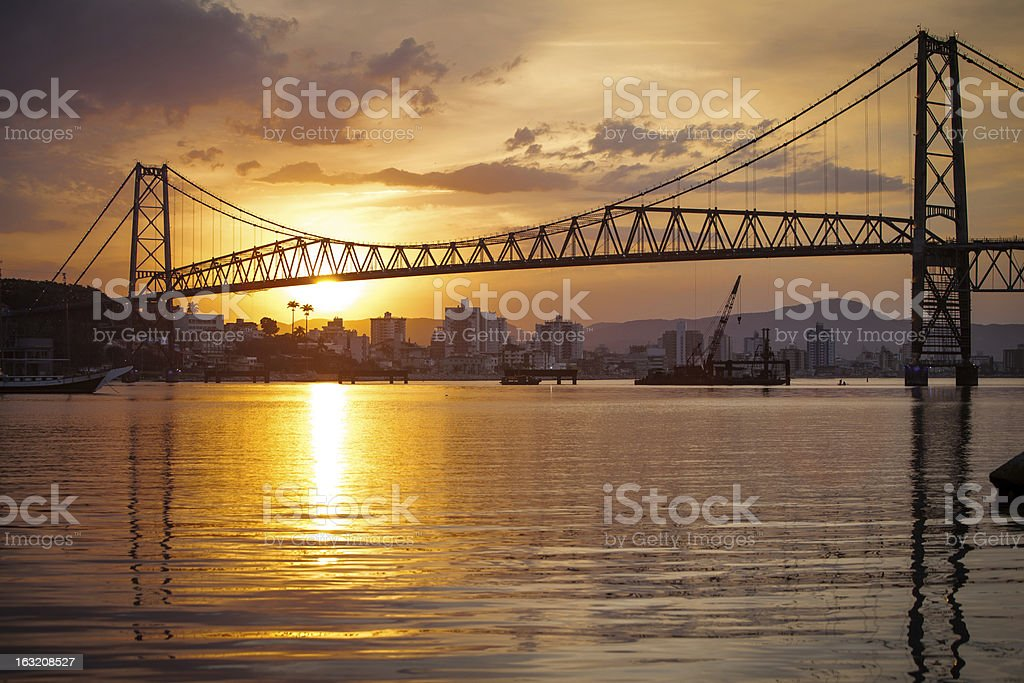 Suspension Bridge at Sunset stock photo