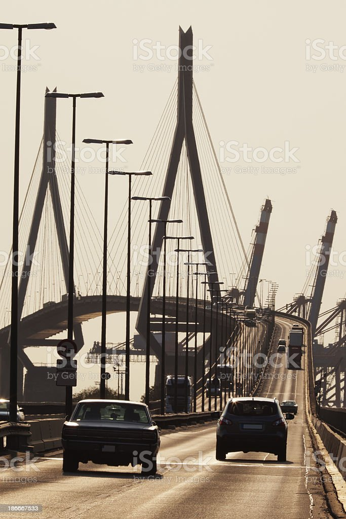 Suspension Bridge Crossed By Cars royalty-free stock photo