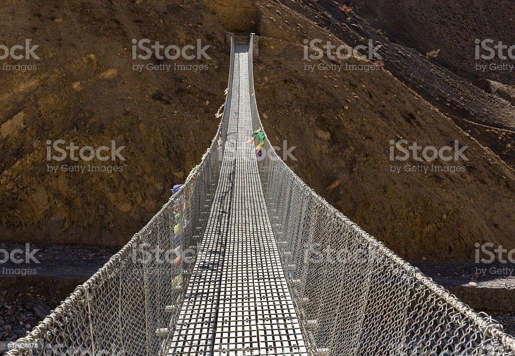suspension bridge Himalayas Nepal. stock photo