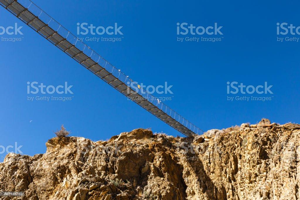 suspension bridge, Himalayas stock photo