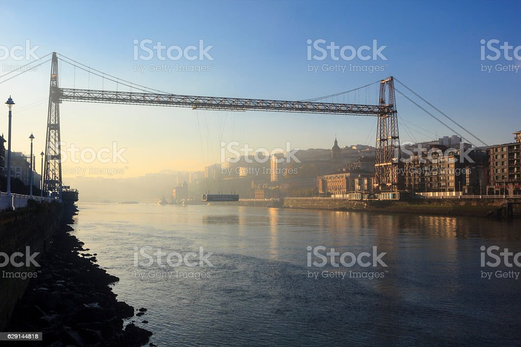 Suspension bridge in Basque country stock photo
