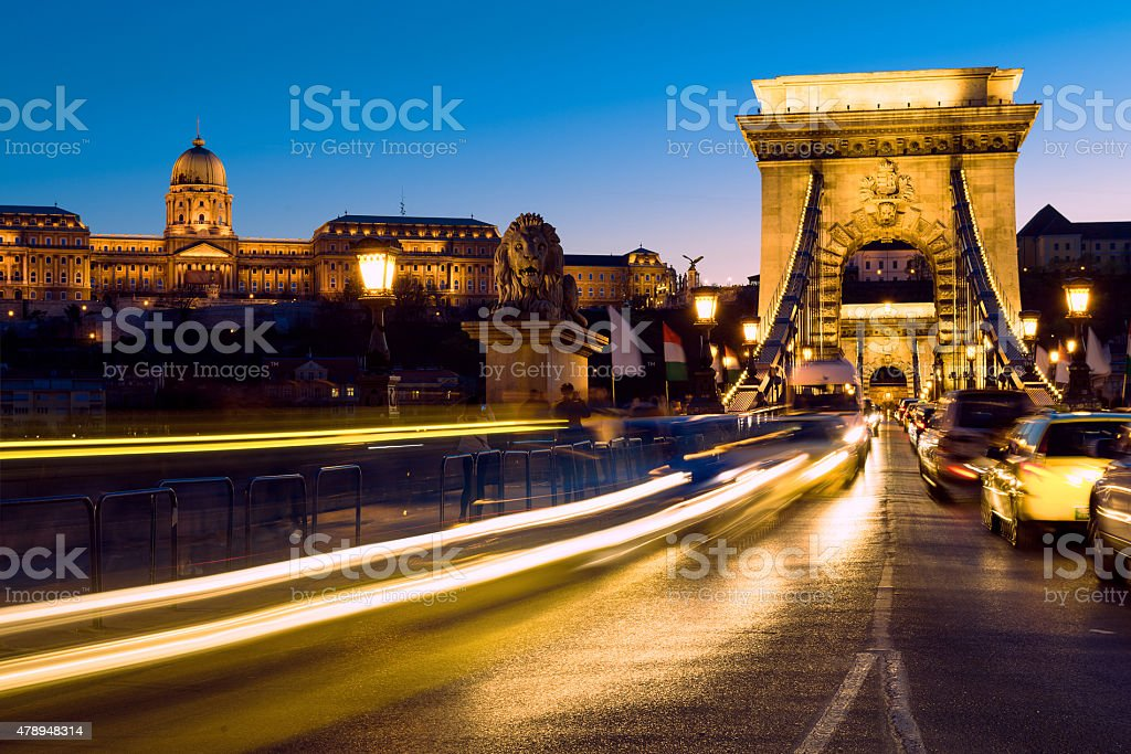 Suspension Bridge in Budapest, Hungary at dawn stock photo