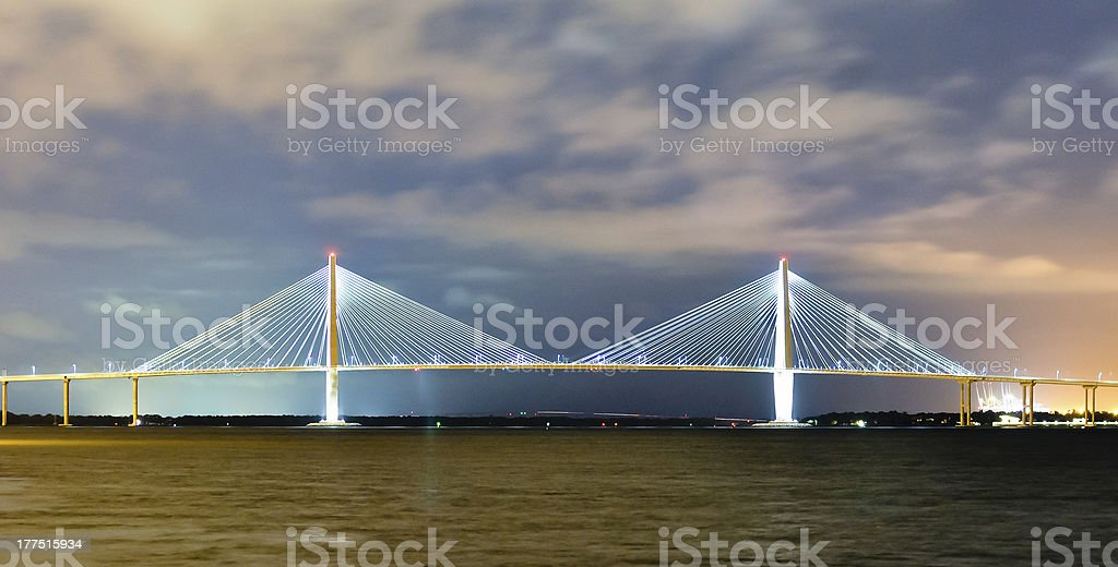 suspension bridge in charleston at night stock photo