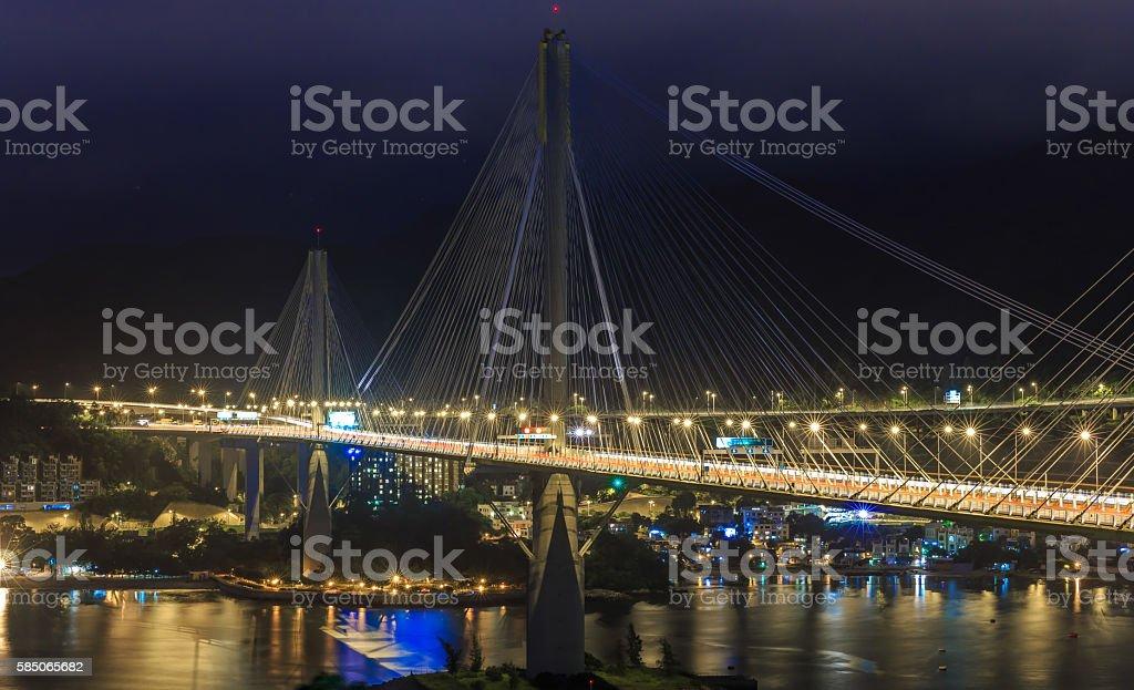 Suspension Bridge in Hong Kong stock photo