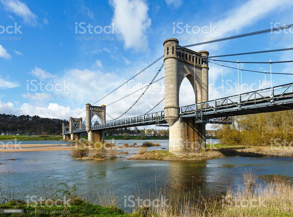Suspension Bridge in Langeais, France. stock photo