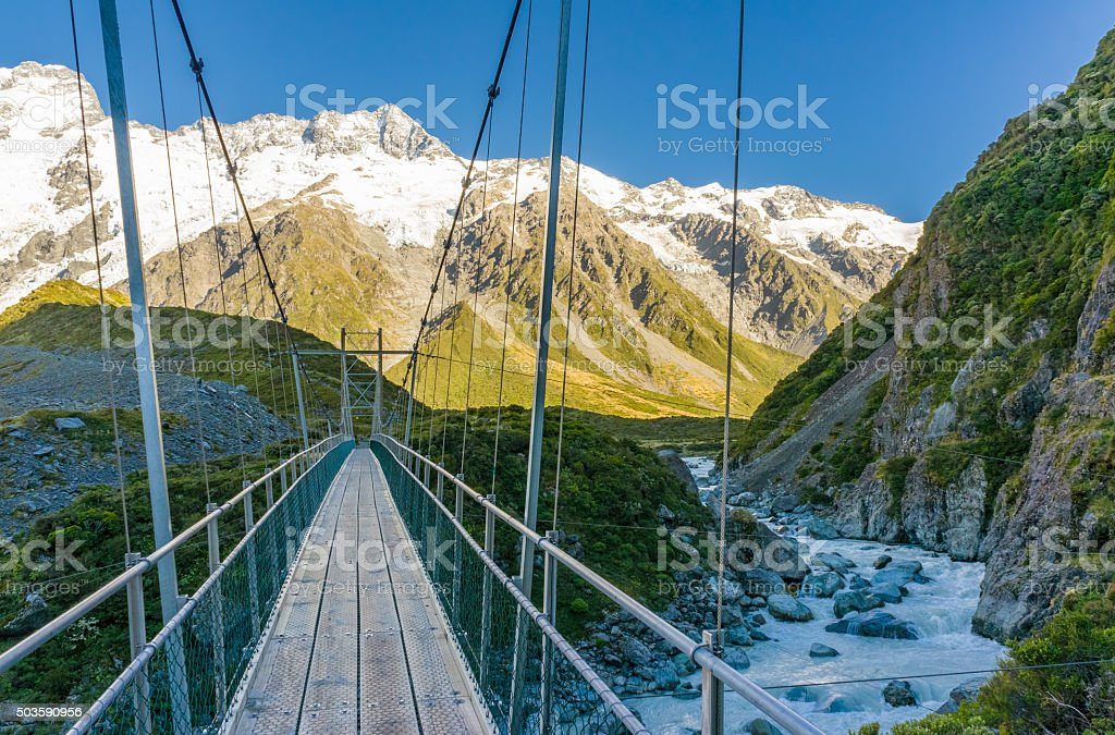 Suspension bridge in Mt. Cook National Park, New Zealand stock photo