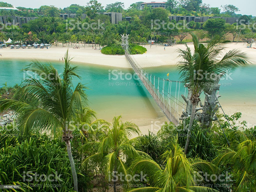 Suspension Bridge in Palawan Beach royalty-free stock photo