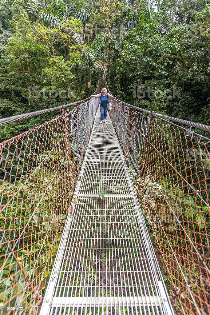 Suspension bridge in tropical rain forest of Costa Rica stock photo