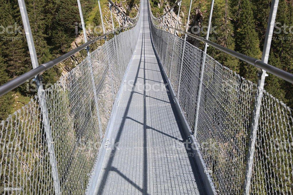 Suspension Bridge near Holzgau in Lech Valley. Tirol. Austria stock photo