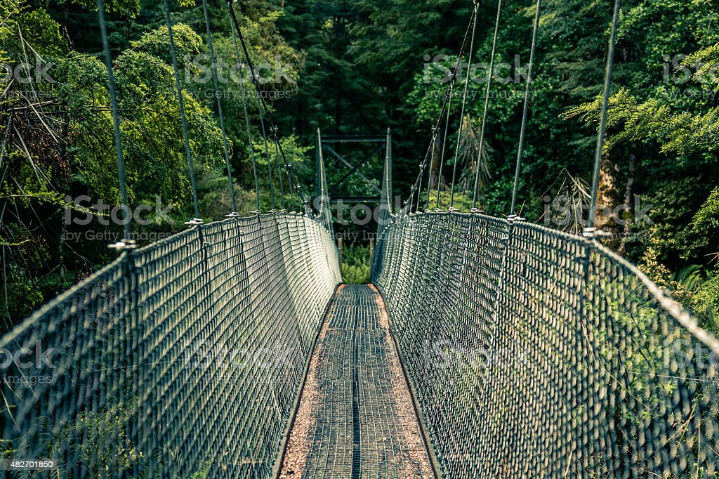 Suspension Bridge on the Kepler Track, New Zealand South Island stock photo
