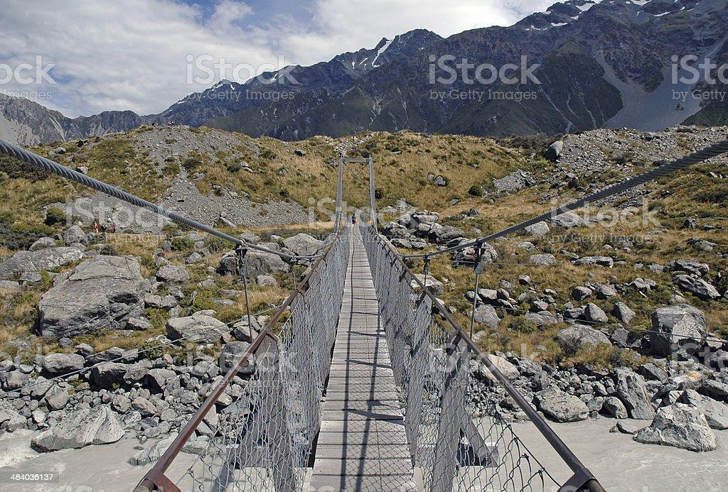 Suspension Bridge on Walking Track, New Zealand stock photo