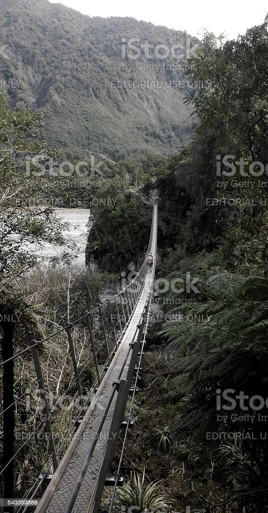 Suspension bridge over glacier valley, New Zealand stock photo